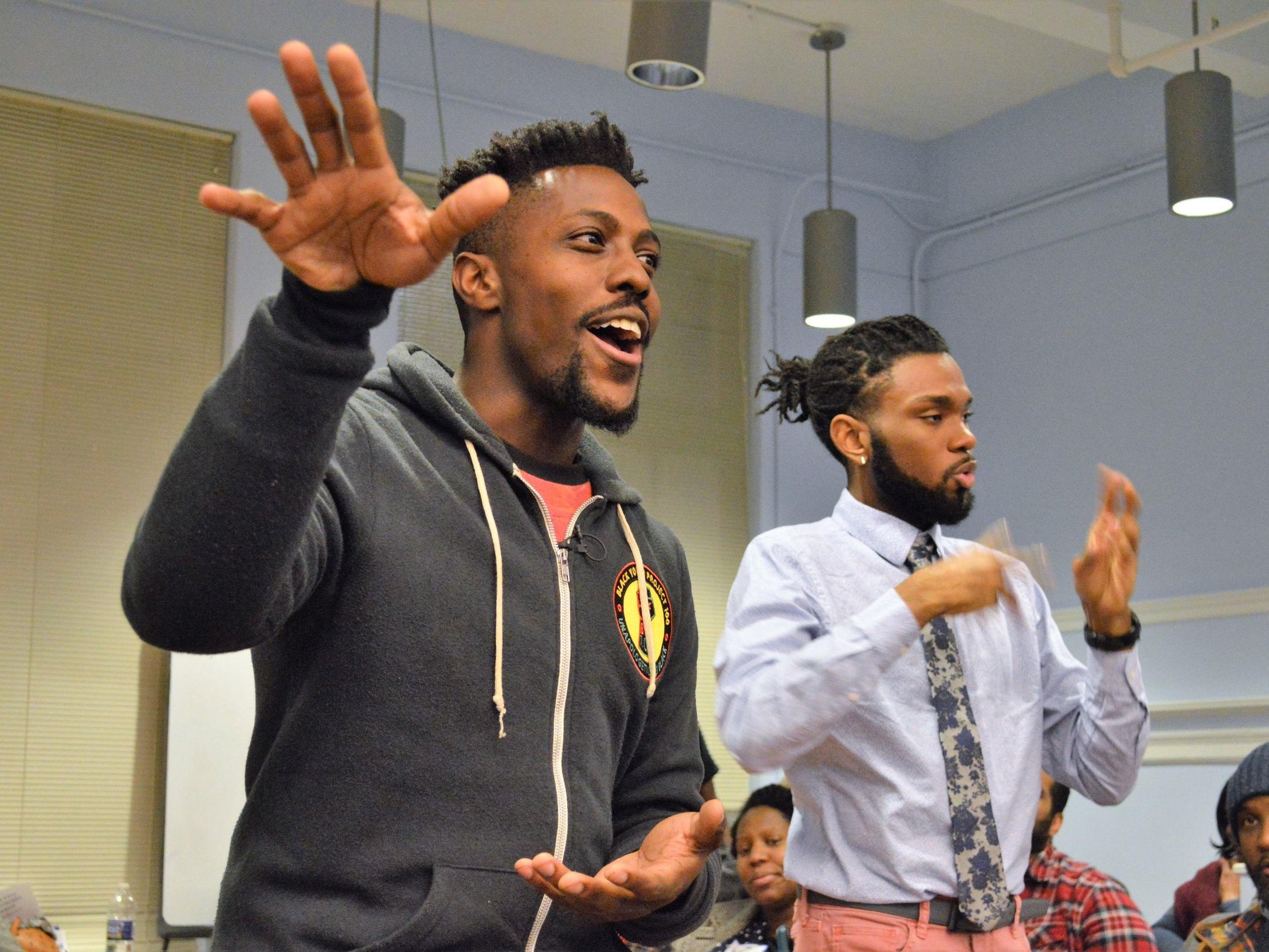 Jonathan Lykes of BYP 100 led the crowd in freedom songs and liberation chants.