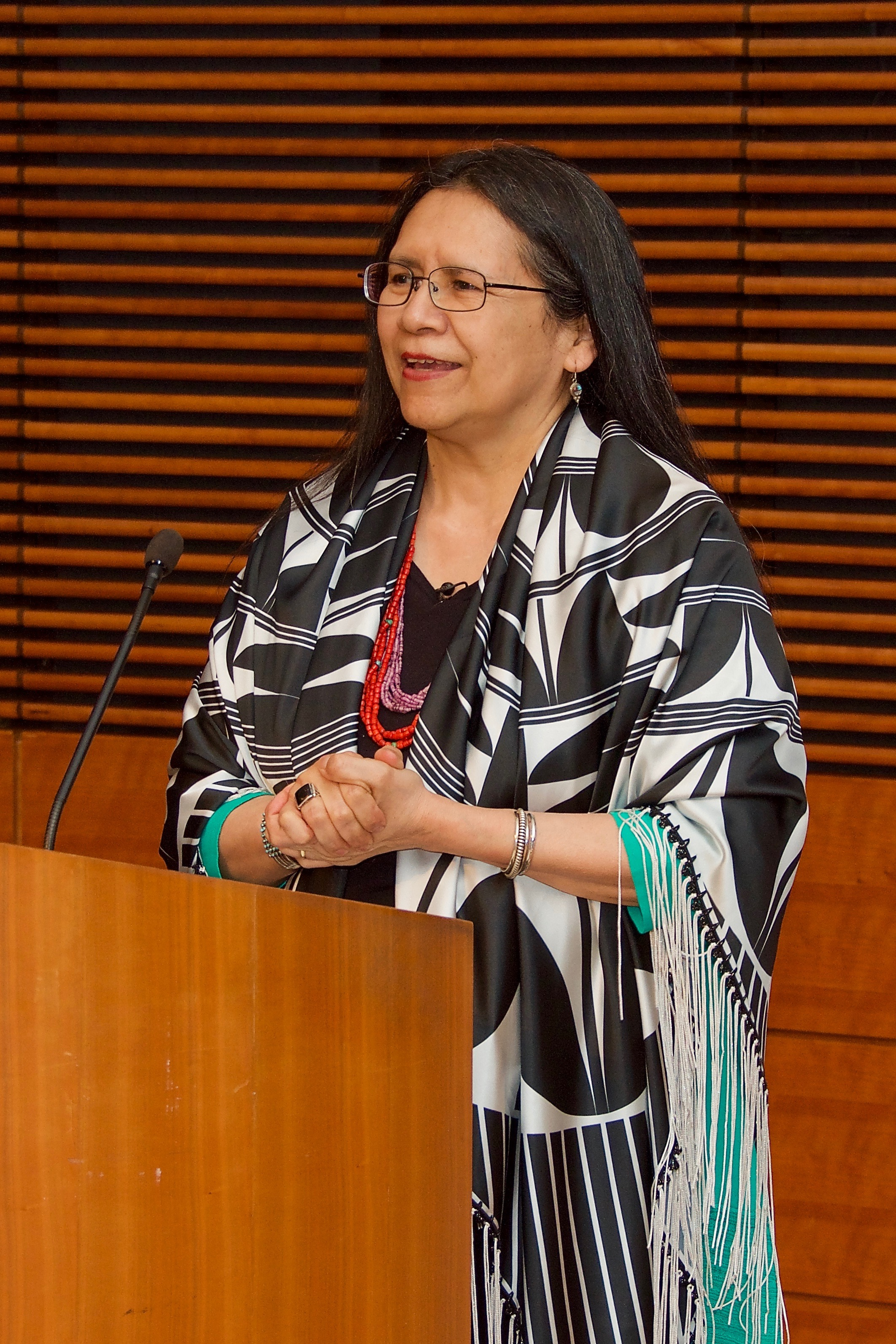 Debbie Reese at Arbuthnot Lecture. By Durango Mendoza, 2019