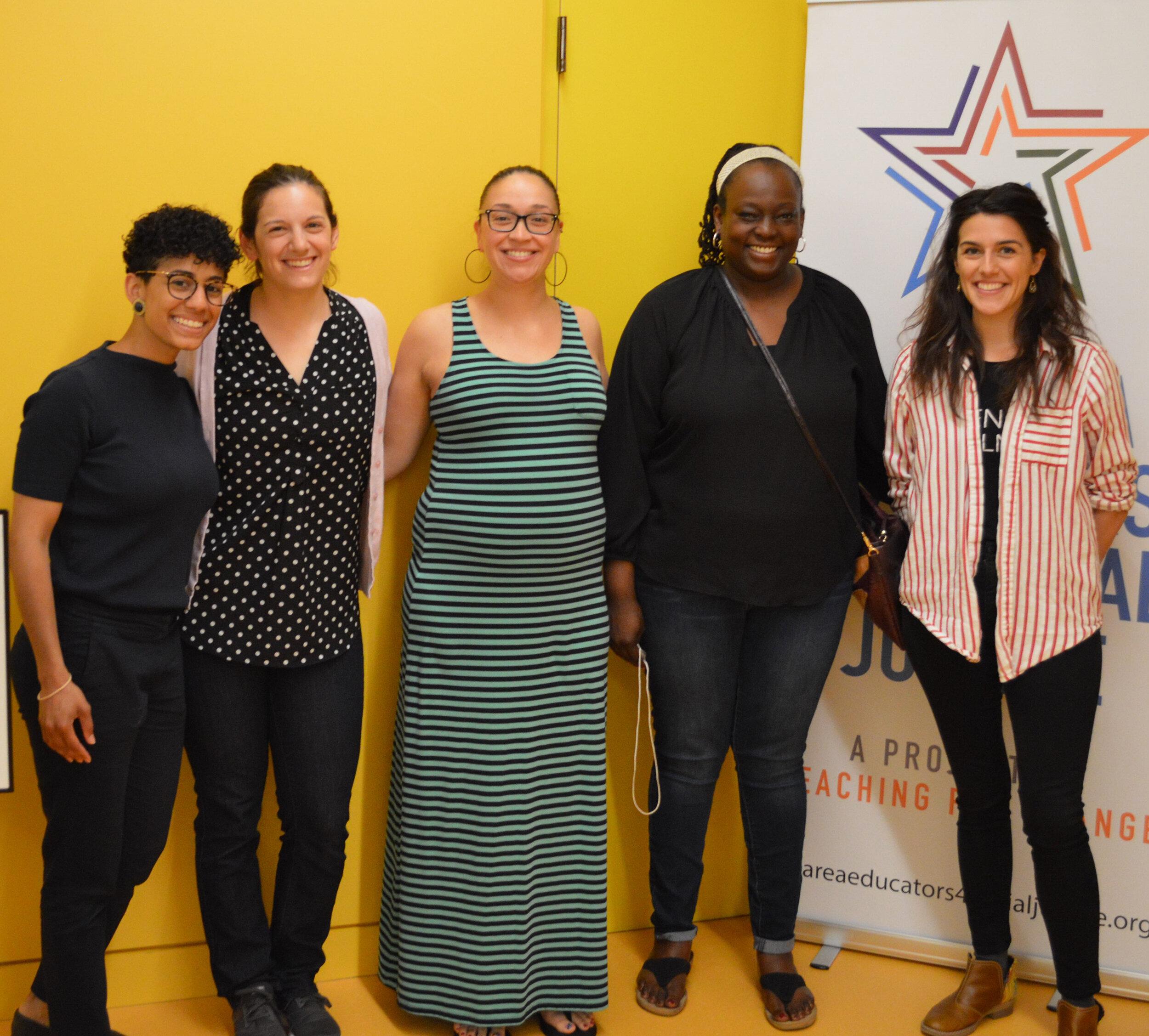 Anti-Bias Early Childhood Leadership Team Members  (from left to right), Rosalie Reyes, Shayna Tivona, Makai Kellogg, Denisha Jones, Marissa Howser (not captured: Carlos Duque, Nichelle Dowell)