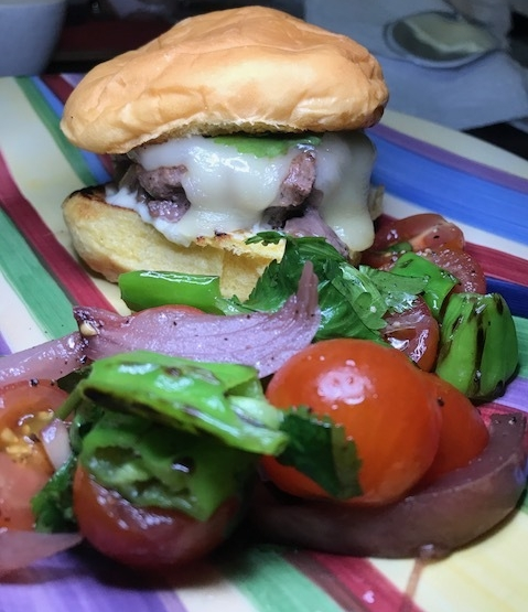 Fontina Cheeseburger with Cilantro & Tomato Salad