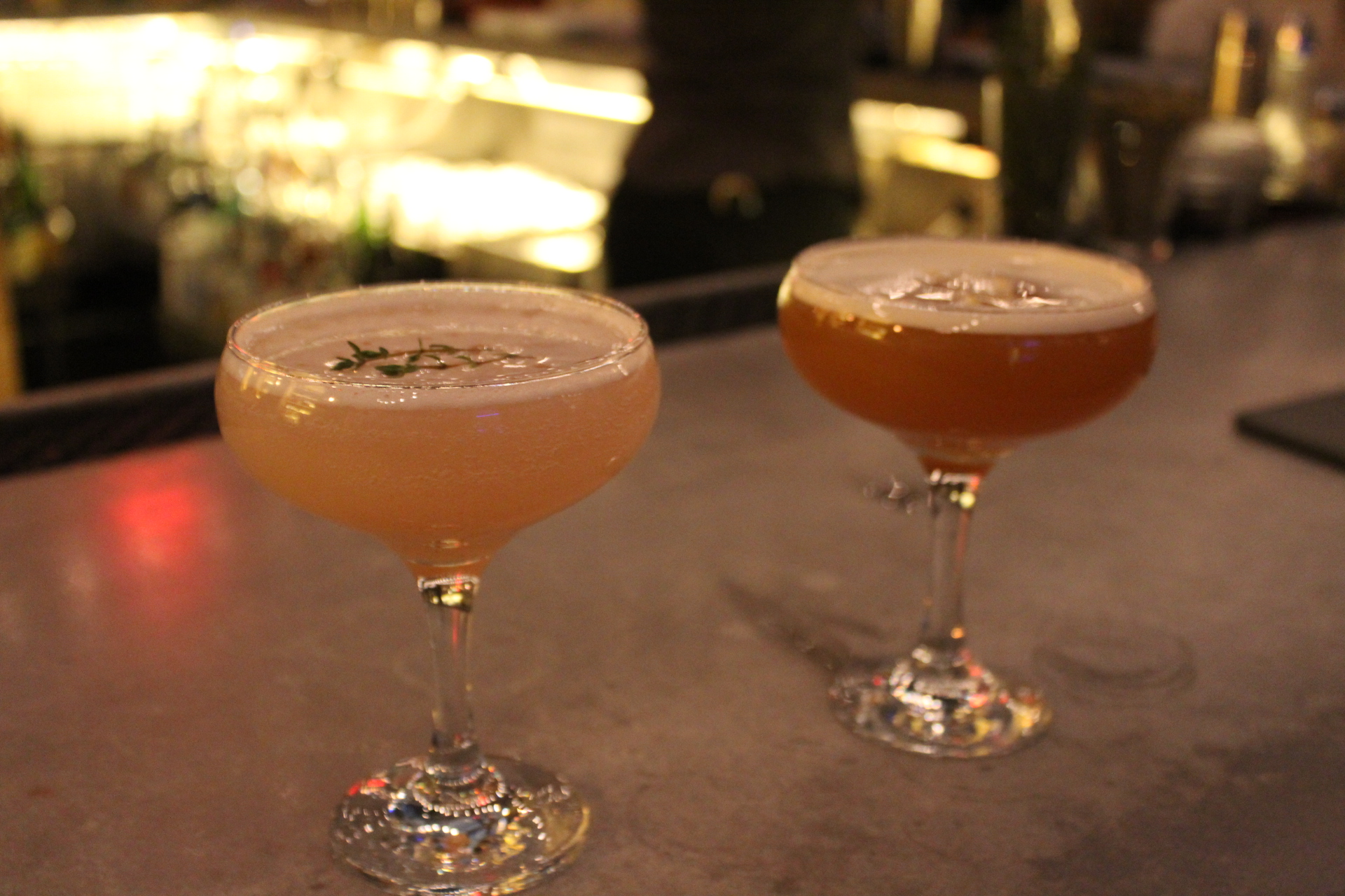 MARTINI THYME (left) AND LONDON CALLING (right) - Remy Martin V.S.O.P, Cointreau, black tea, fresh lemon juice