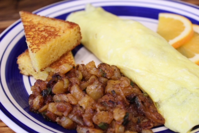 Famous Rolled Omelette w/ Cornbread and Smashed Home Fries