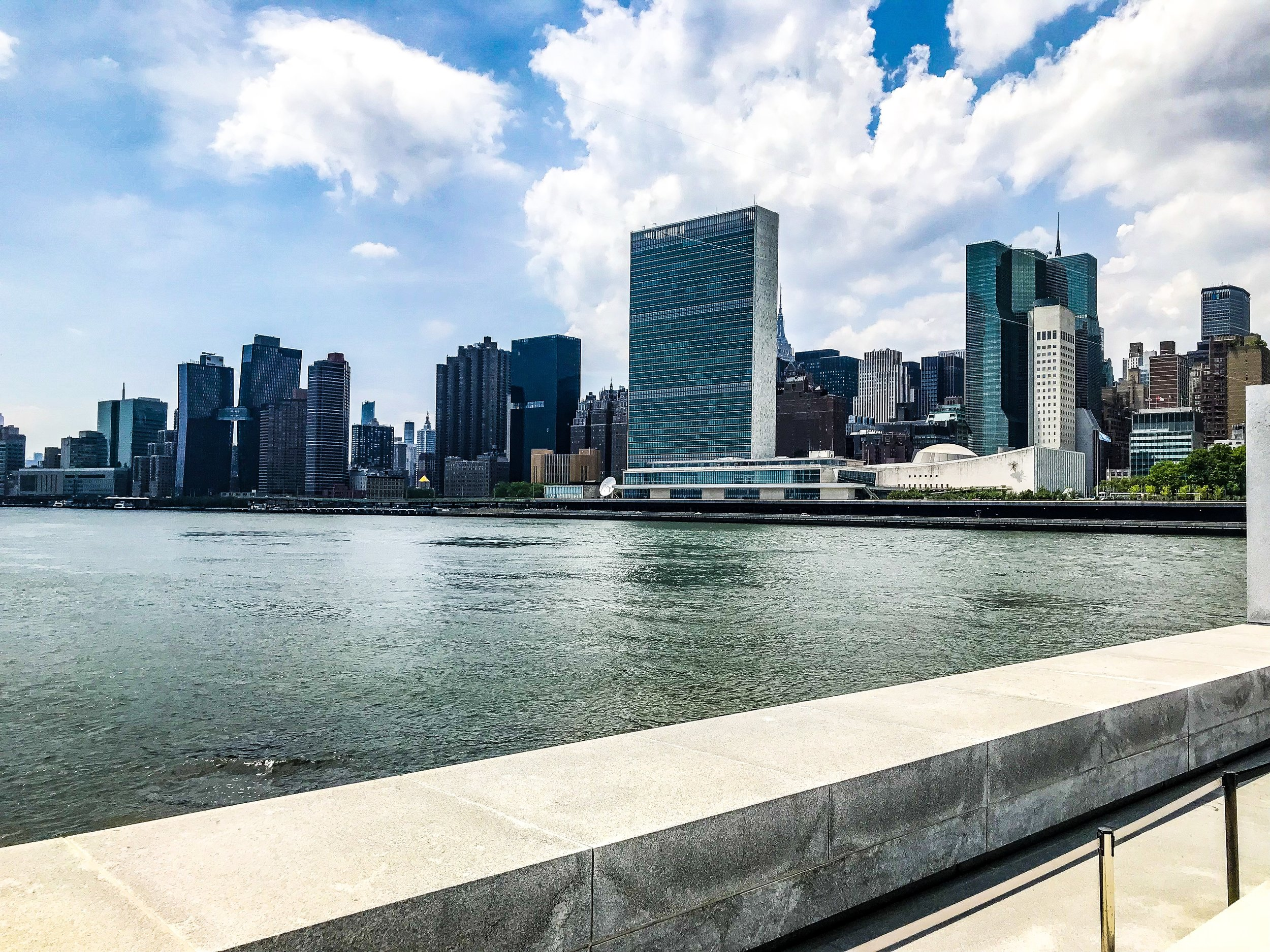 View of Manhattan once reaching the end of the Four Freedoms Park