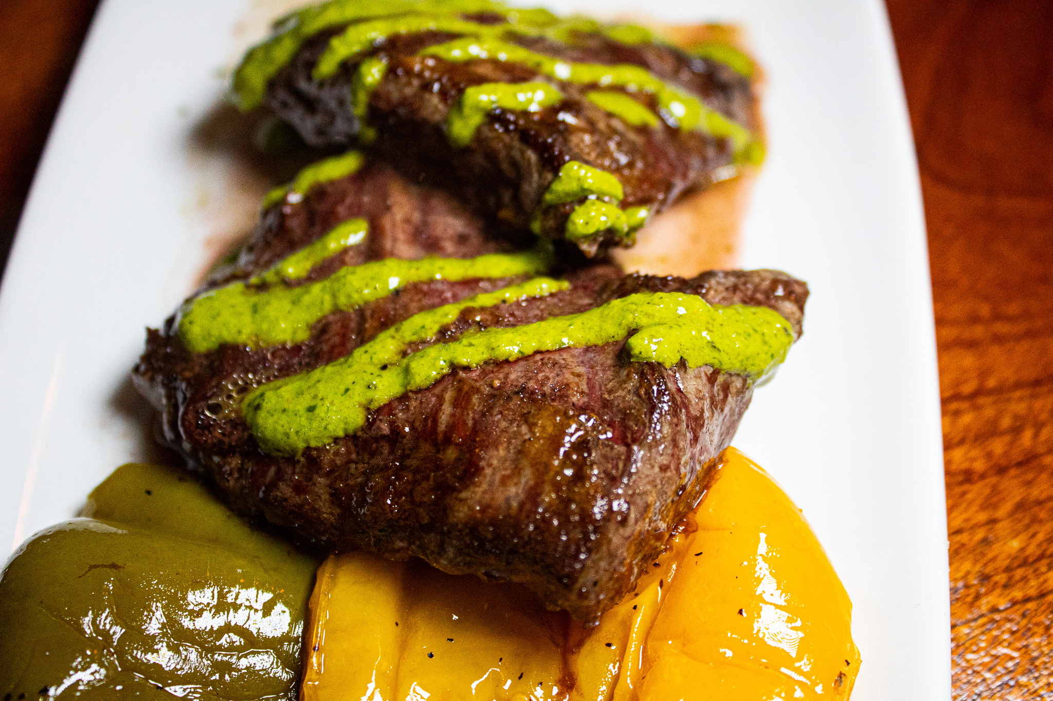 CHIMICHURRI SKIRT STEAK -  Gorgonzola Mashed Potato & Mixed Peppers Relish