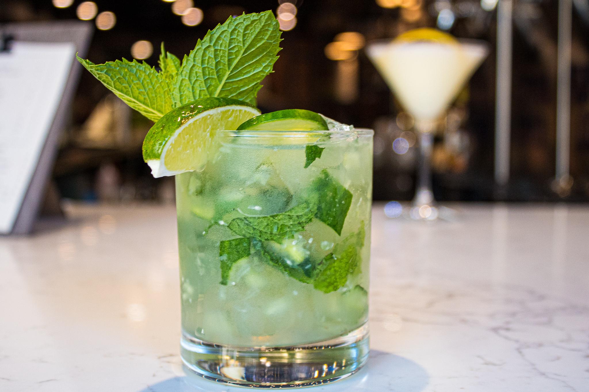 Fresh Evening - organic vodka, fresh squeezed lime juice , fresh cucumber, mint