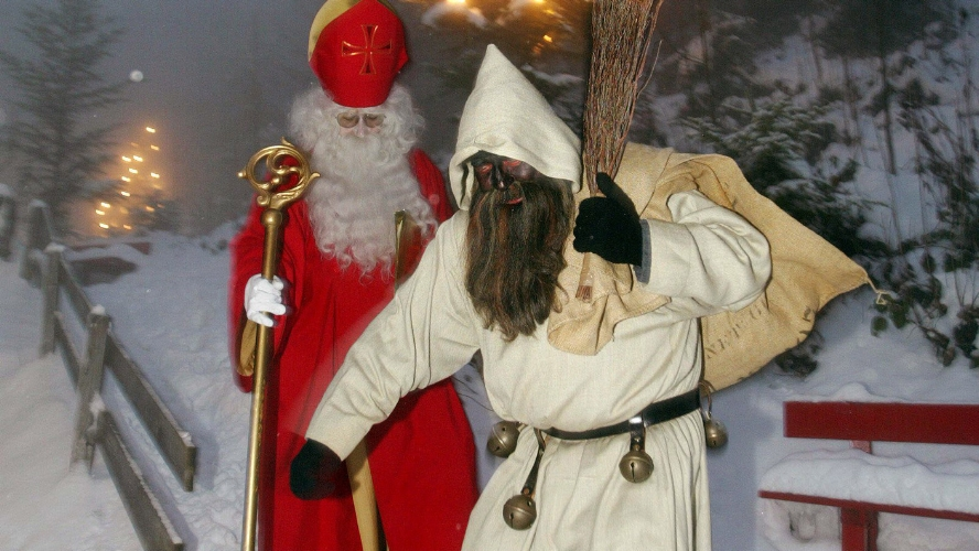 Switzerland:Hit children with sticks   - Another event that occurs on December 6th. The Swiss version doesn't feature a kindly bishop, but rather Santa's evil helper, Schmutzli (literal translation: the dirty one). Schmultzi and Santa visit families, beating bad children with a stick. Santa's twiggy weapon is  a Fitze. This was practiced recently in Lucerne, when teenagers attacked children with broomsticks. Talk about the nightmare before Christmas.