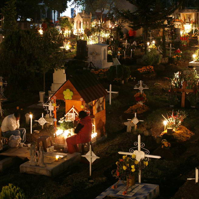 Chile:Cemetery sleepovers - Talk about the nightmare before Christmas (ahem: New Year's).In the small town of Talca, Chile, it's tradition to spend the night in a cemetery on the last day of the year. They believe their deceased loved ones are waiting for them there, and the living have made a ritual of spending the evening together with the dead. And you thought your family loved you.