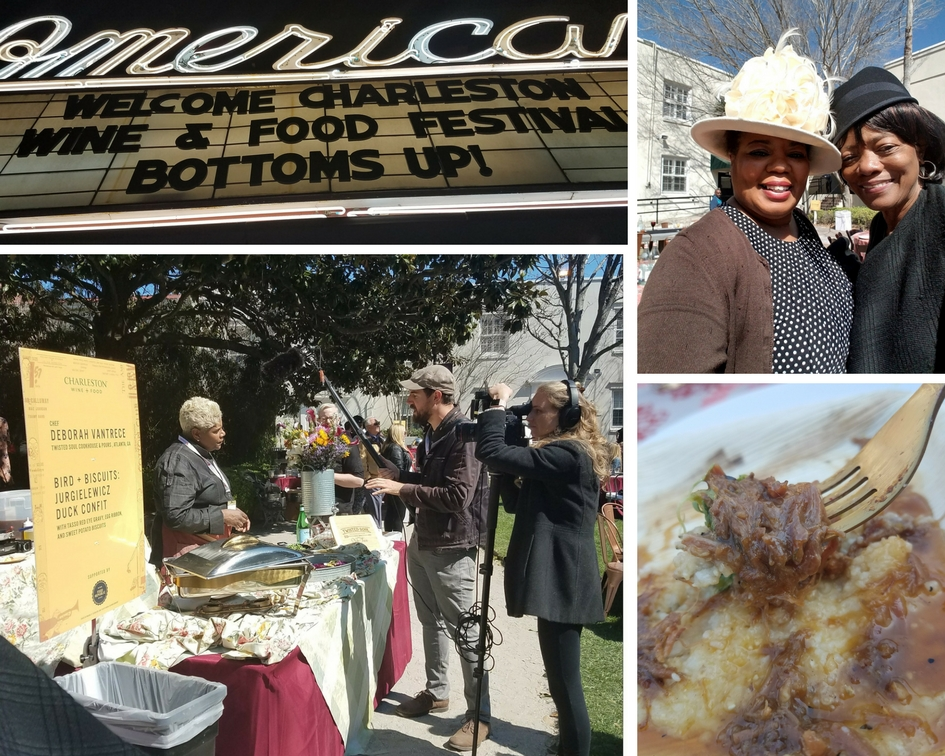 Welcome sign on King Street, Mom and I with our snazzy hats, Ox Tails and Anson Mills Grits