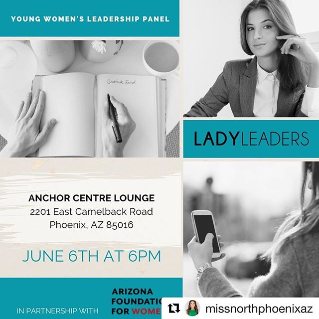 We have partnered with Lady Leaders to bring a panel of successful women in the Valley who will share their experiences managing their careers as young professionals, and answer career questions from the audience! Please RSVP through the link in our bio 🙌🏻#Repost @missnorthphoenixaz with @get_repost ・・・ #LadyLeaders is partnering with @azfoundationwomen to spearhead the millennial out-reach panel, the Young Women's Leadership Initiate.  On Thursday, June 6th, six talented and successful women will take center stage and tackle questions about how they have gotten to where they are today in their careers, challenges they have faced along the way, impart advice to the next generation of women, and share what it looks like to be a Lady Leader in their respective fields. 💫 •••• This event is free of charge and will provide light refreshments. Please come out for an empowering evening and bring your girlfriends! ••••••••••• Event details:  June 6th, 2019 at 6PM Networking starts at 6PM The panel will begin a 6:30PM