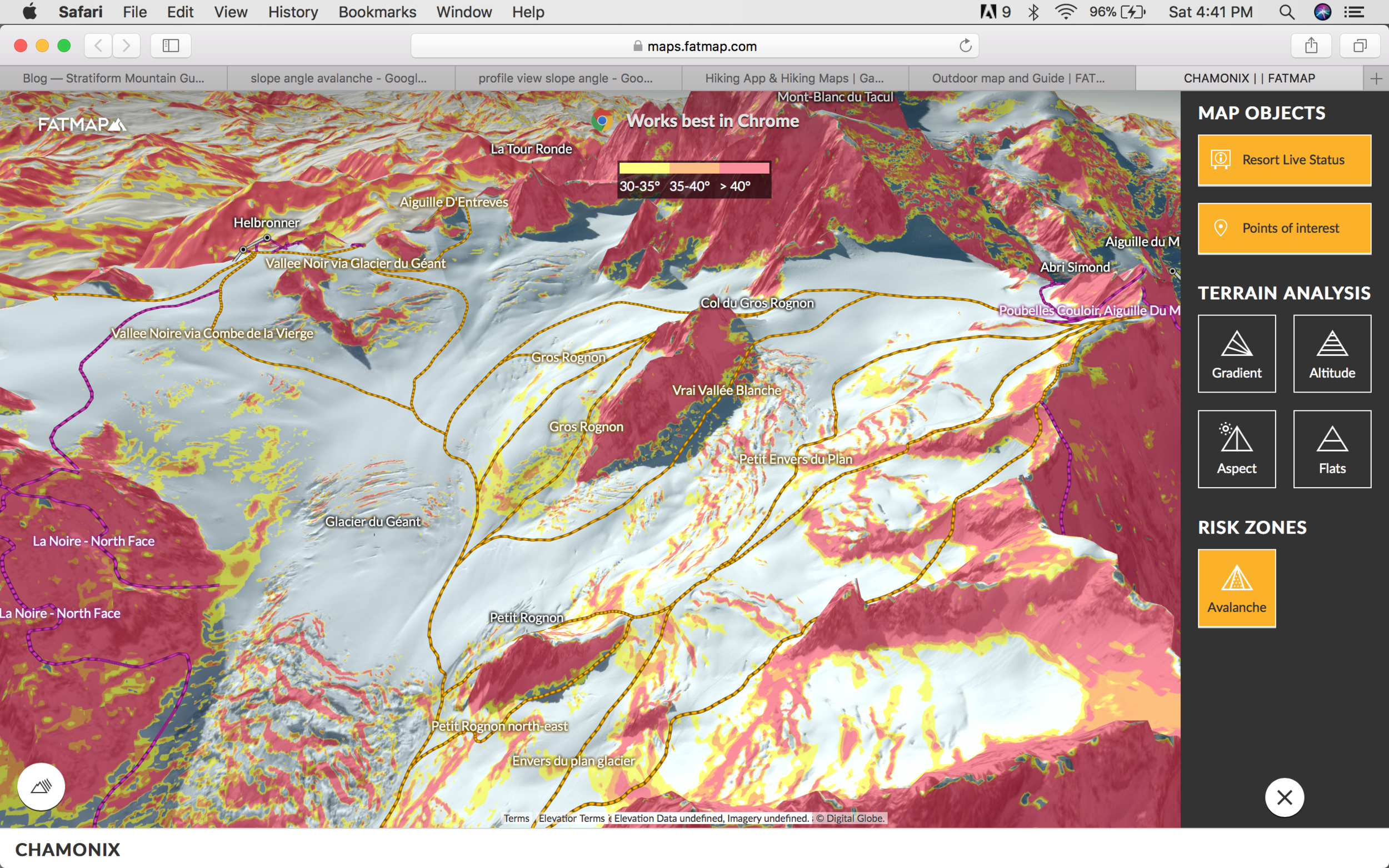 Same 3d image, with slope angle overlay. yellow is 30-35, red is 35 and up!