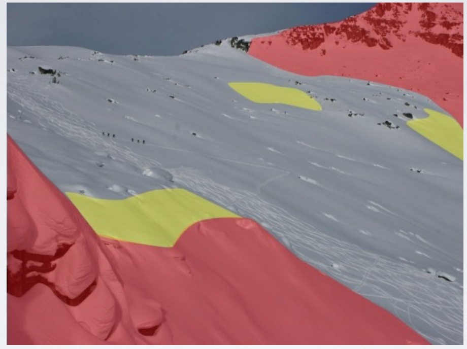 Use slope angle shading to identify and eliminate the terrain that is too steep for the day's conditions.Then ski the lower angle, well supported, pow!