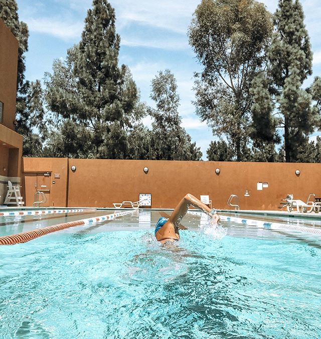 1, 2, 3, BREATHE, 1, 2, 3, BREATHE 🏊🏼‍♀️. I swear swimming has helped my breathing when it comes to running. . . I have applied how I take a breath every 3-5 strokes in the pool to running, but with steps... long inhale for 4 steps, controlled long exhale for 4 steps. Obviously when I'm running hard my breath is more like 2 steps, but still making it rhythmic with my steps. . . I've also noticed that my legs feel less sore and my hips legs cranky after a swim, which is the main reason I try to swim about 2x a week. My legs always feel 10x more fresh after a swim 🙌🏼. . . Big workout on deck tomorrow! 🏃🏼‍♀️ what's everyone's long run plans?! . . #gorun #swimming #iloverunning #morningrun #monitorthebeat #runhappy #runningterritory #garmin #swim #breathe