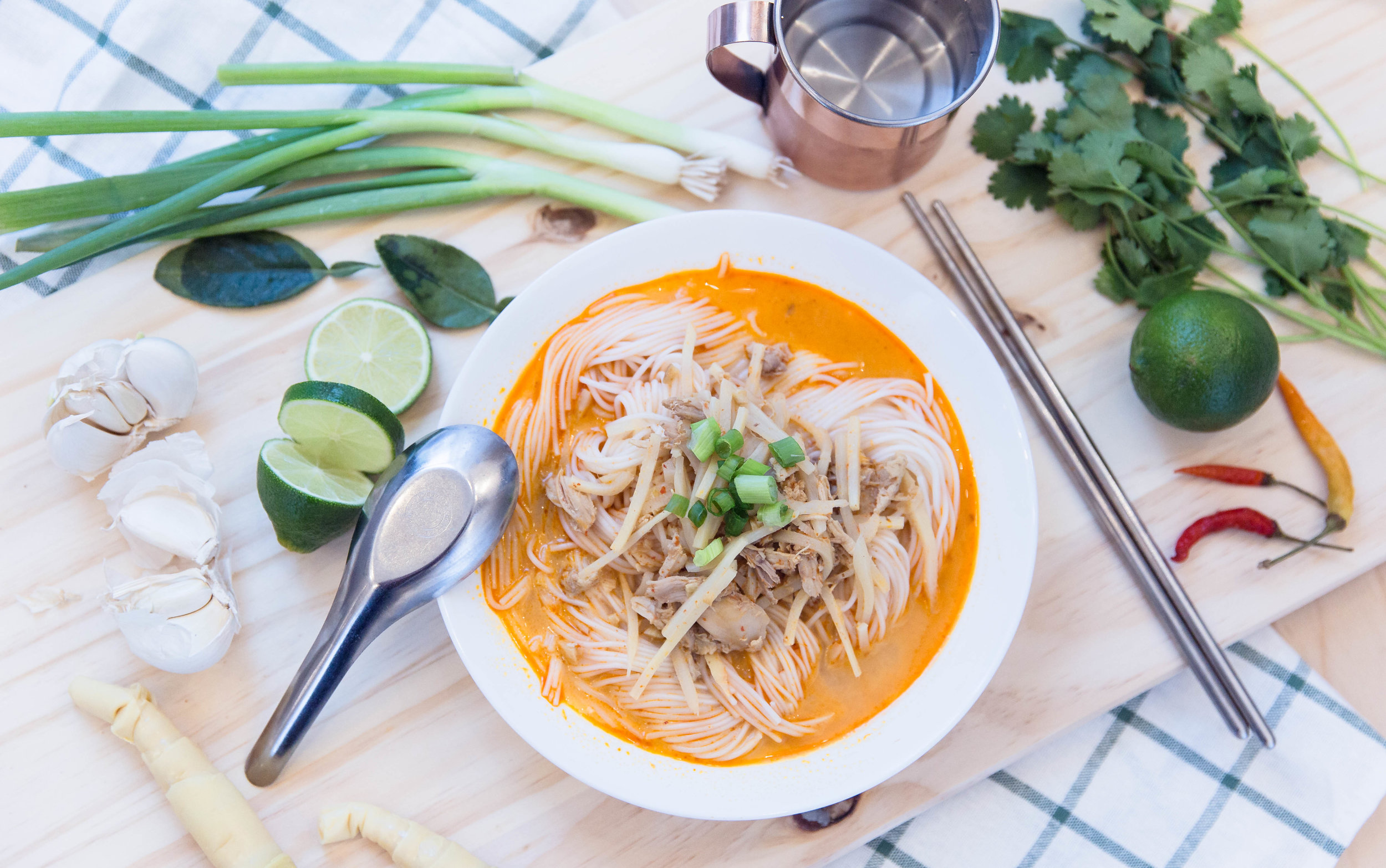 Khao Poon - An underestimated and lesser known noodle dish in the Asian community. It's known origin is from Laos, and has now spread all across Asia and the United States. There are many different variations of this dish online; some made with coconut milk, some without. The ingredients can easily be found at your local Asian grocery store, and it's an easy recipe to follow.