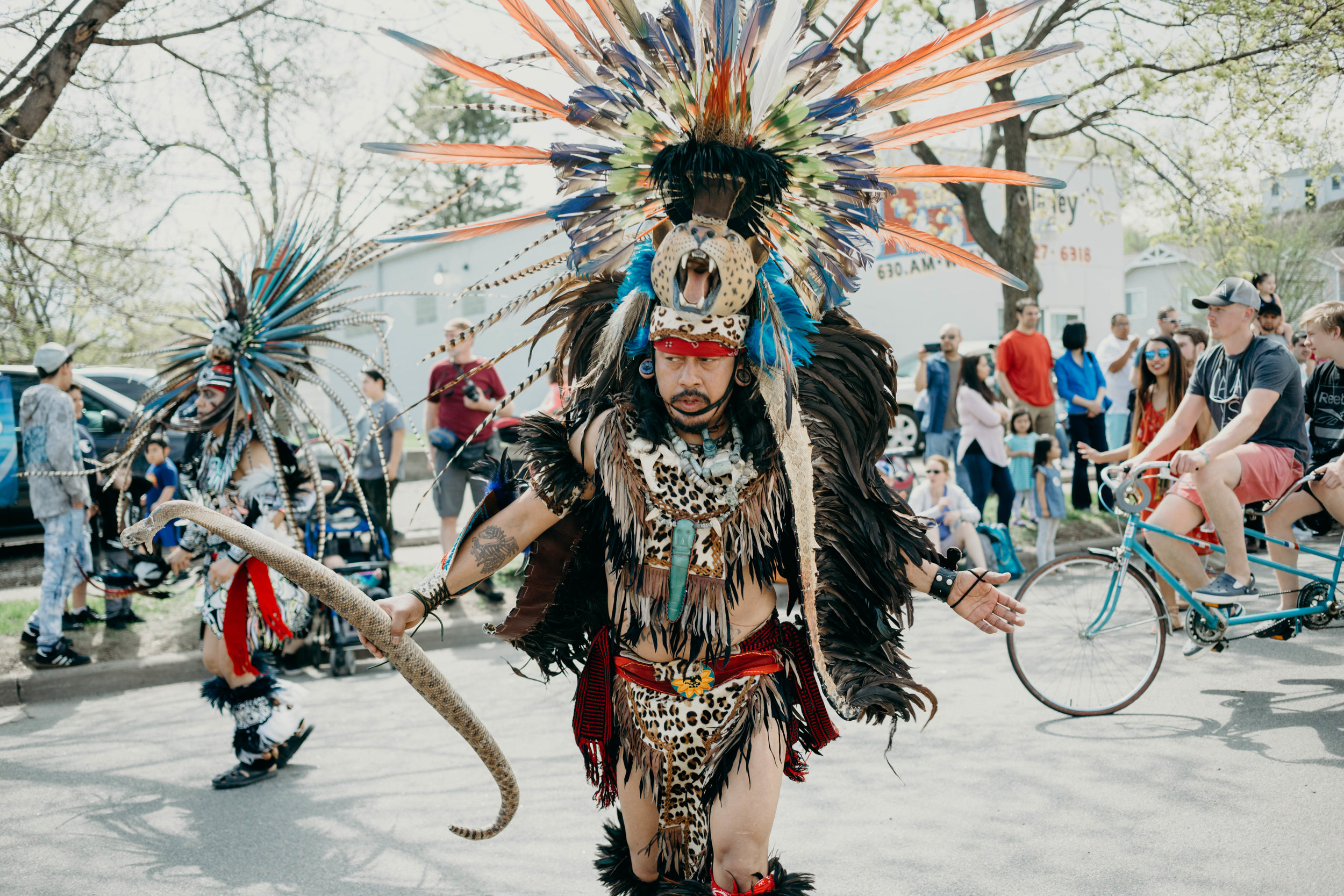 West Saint Paul has the best Cinco de Mayo celebration in the Twin Cities - The parade along Cesar Chavez Street is the perfect location for this festival. Aztec dancers take to the street to show off the Concheros dance.