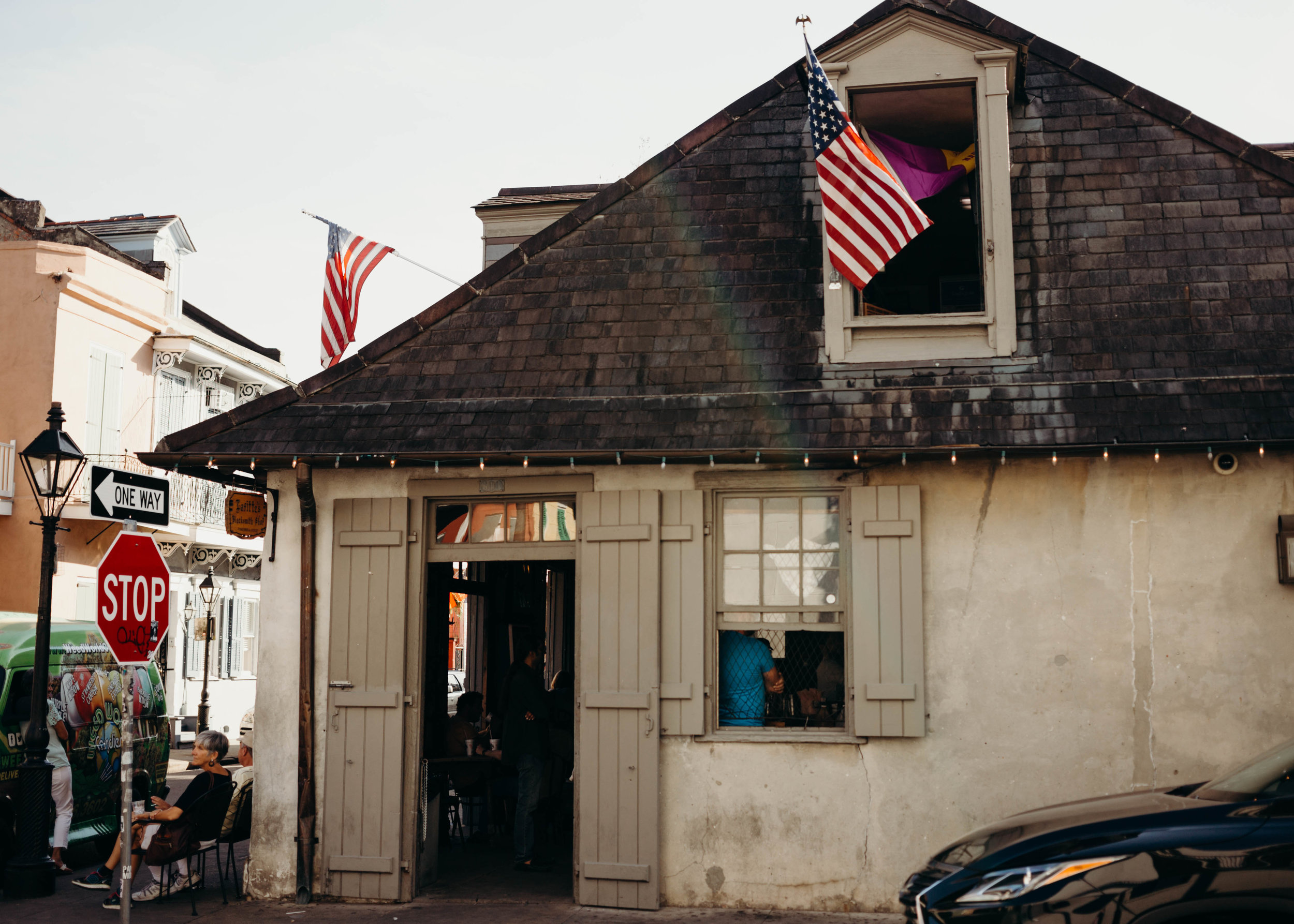 Laffitte's Blacksmith shop Bar has some of the best local lore of any place on Bourbon Street. - The alleged pirate brothers Lafitte once used this location for their smuggling operations. Now a popular watering hole, there have been many ghost sitings at the fireplace of a man dressed in colonial era attire.