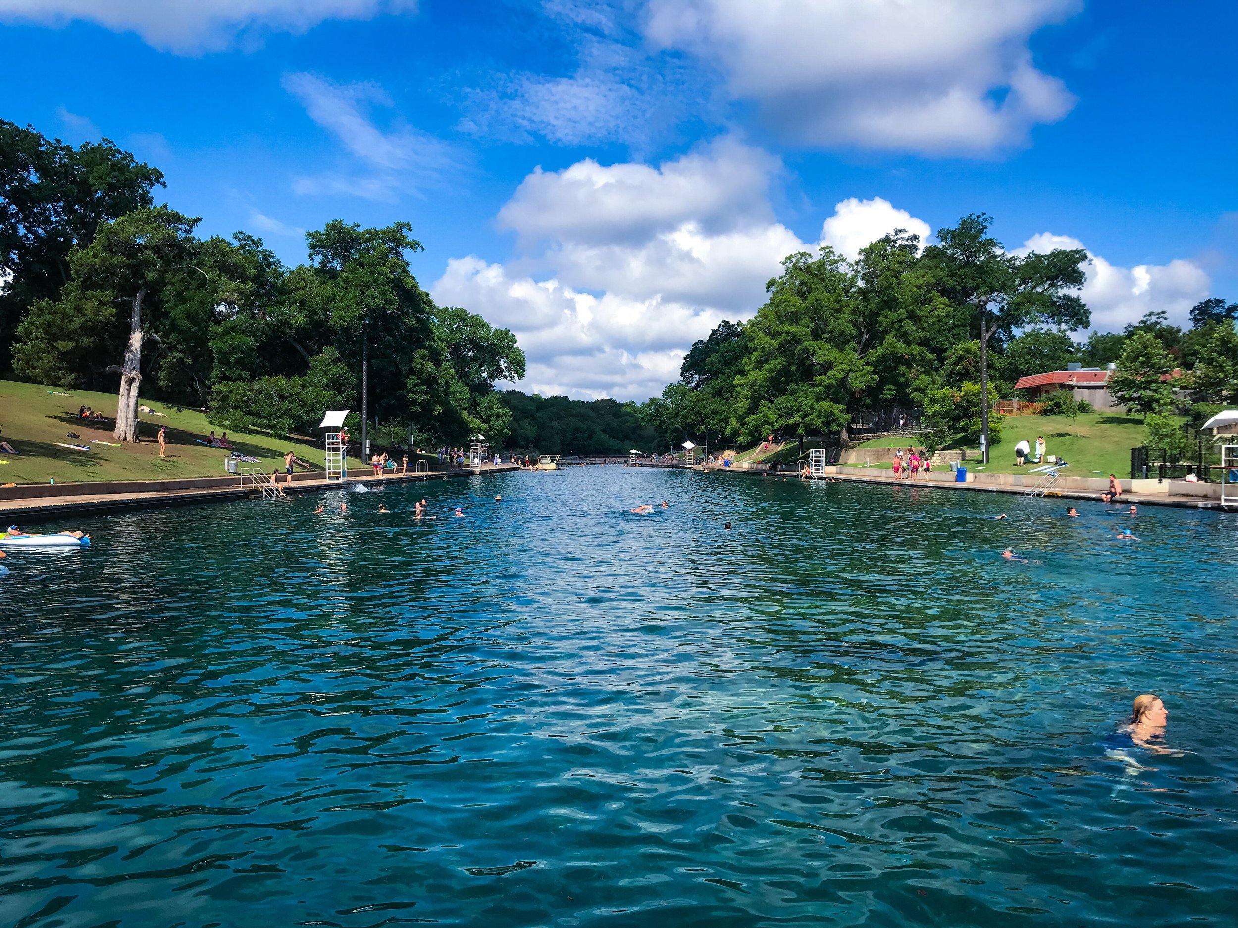 6. Take a dip at Barton Springs - Go enjoy an outdoor swimming pool that is fed by a nearby natural spring. The water is crystal clear and it's great way to cool down on a hot Texas day.
