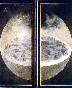 Image: Hieronymus Bosch,  The Garden of Earthly Delights  (exterior view), 1480-1490.