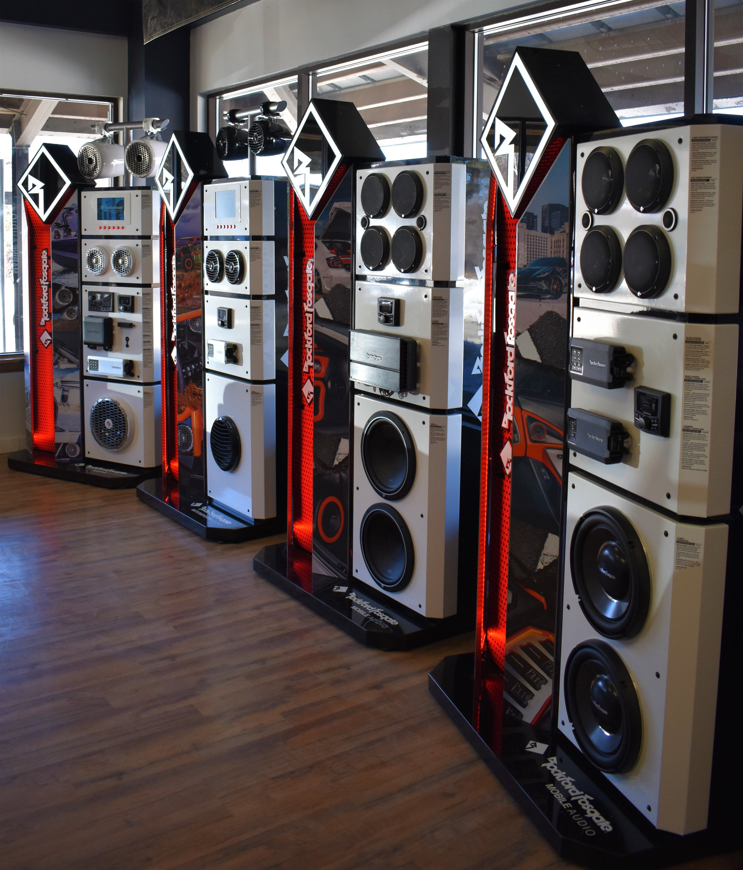 Rockford Fosgate displays have our showroom rocking! - Our Rockford Fosgate displays are switched on and waiting for you to turn it up. Come by and get turned on by the newest equipment for all your audio needs!