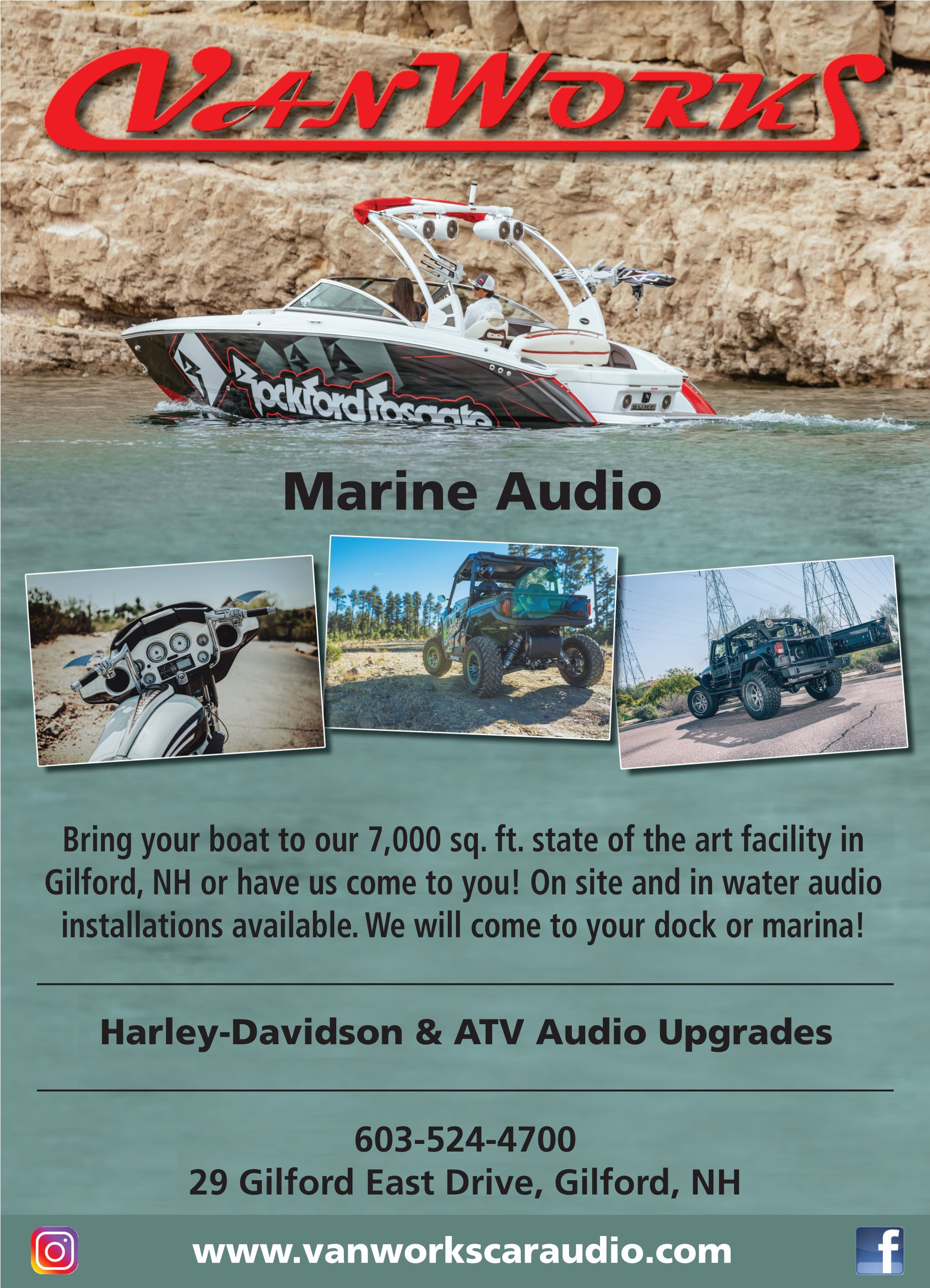 Want to get your summer toys ready for next year? - Don't miss out on precious good weather when it is upon us. We can get all your toys ready while the snow is falling in our newly expanded 7,000 square foot heated shop! We have many options available when it comes to car, boat, motorcycle, RV and ATV audio. Enjoy your time doing what you love while having the right system for the best sound!