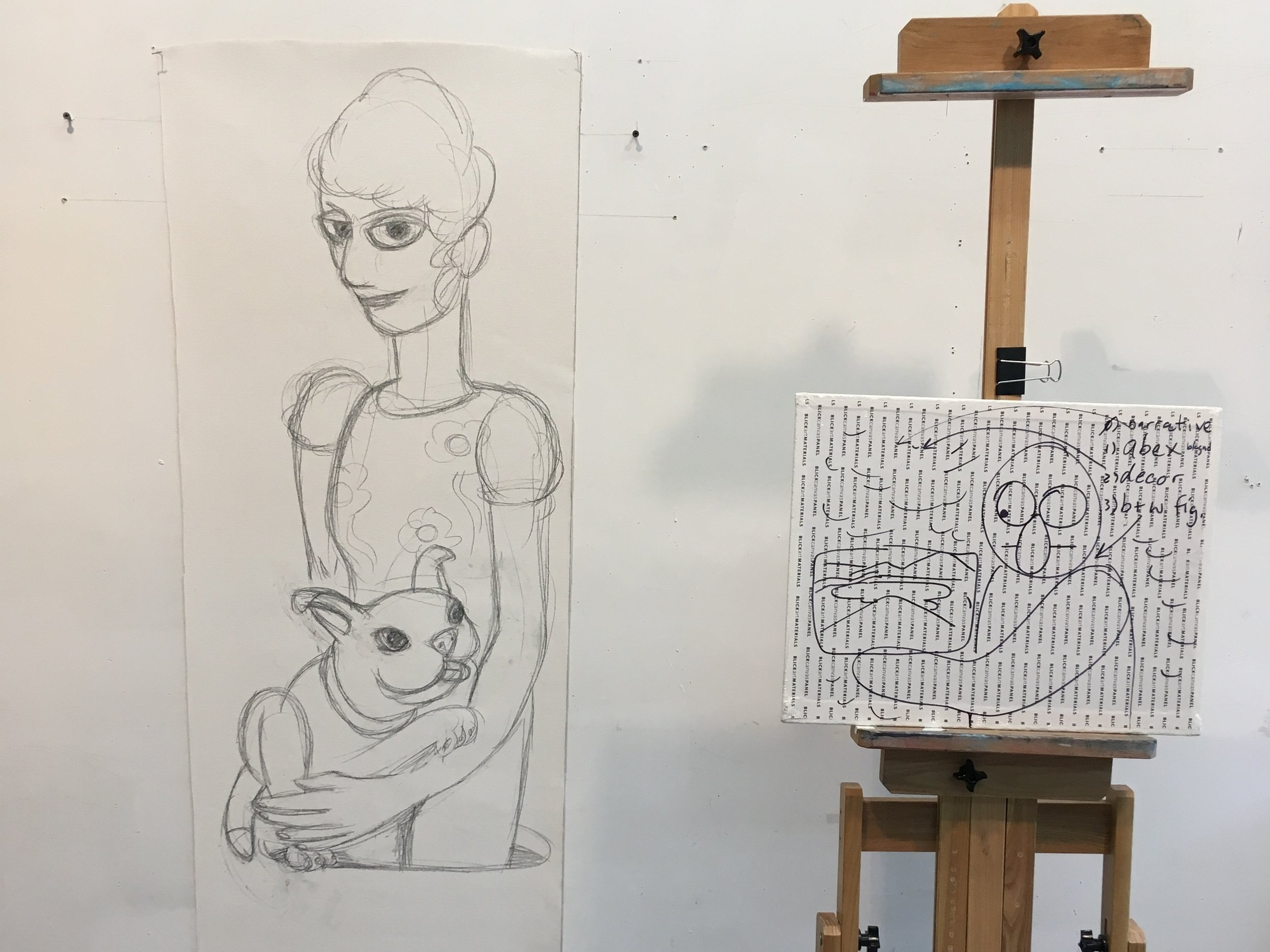"Notes on a panel and preparatory sketch for ""Woman with Dog"""