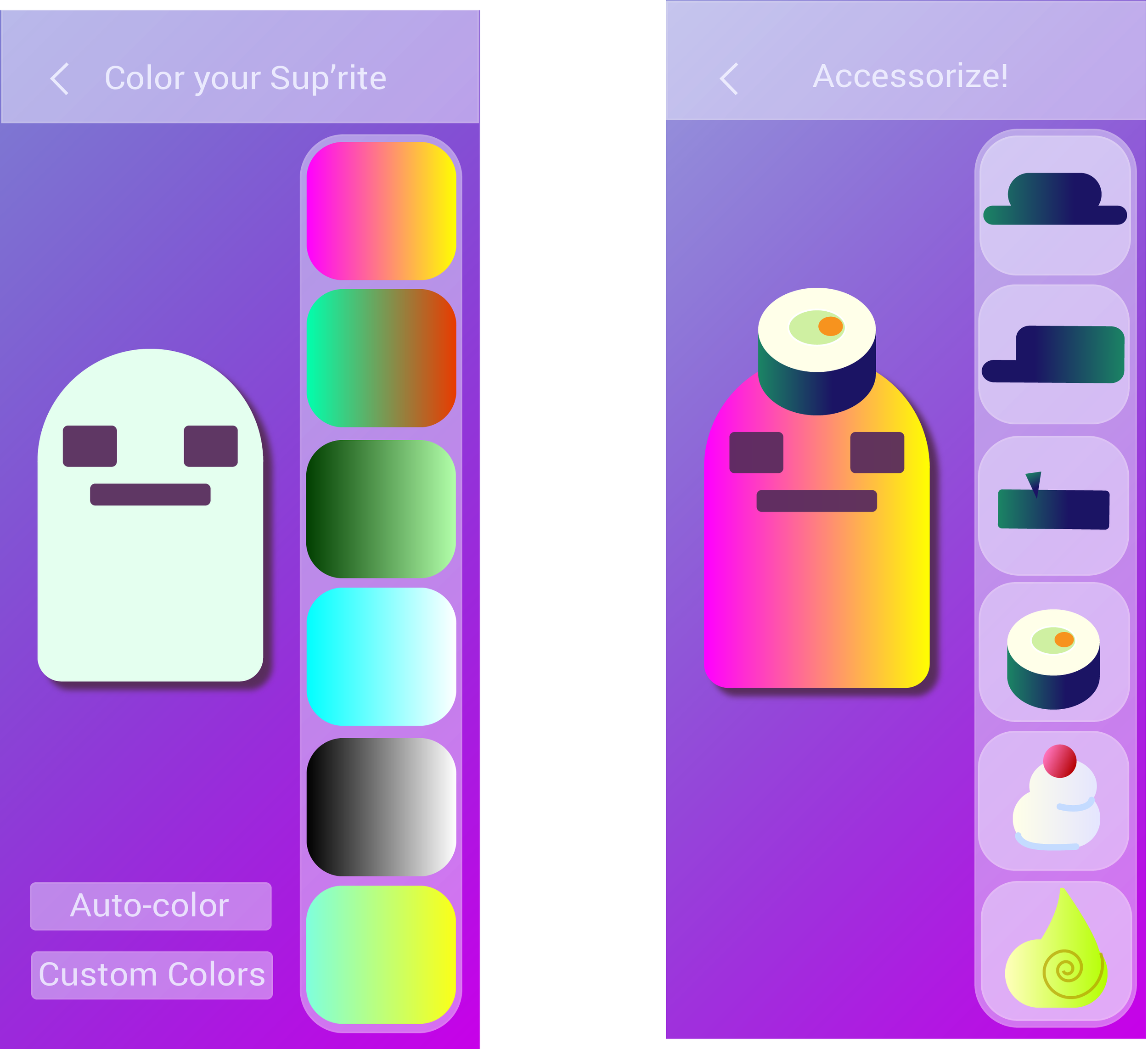 Users express their personality in avatar designs, accessorize with fun items like the sushi hat