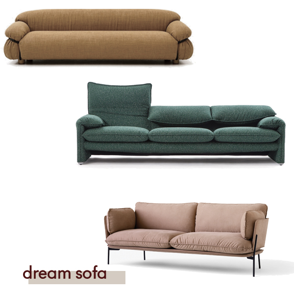 Sesann by Tacchini from Stylecraft, Maralunga by Cassina, Cloud by &Tradition from Cult