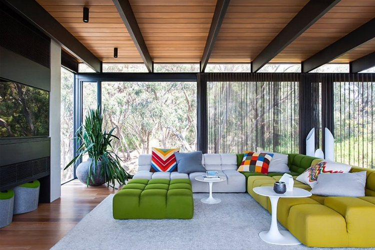 The Peninsula House by  SJB  is a bold reimagining of the original home. The colour selection and 'Tufty Time' sofa pay homage to the 70s whilst being completely contemporary.