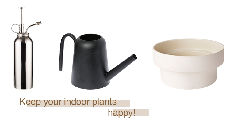 A plant mister perfect for the maiden hair ferns  $79 , Black watering can  $59 , White podium planter  $39