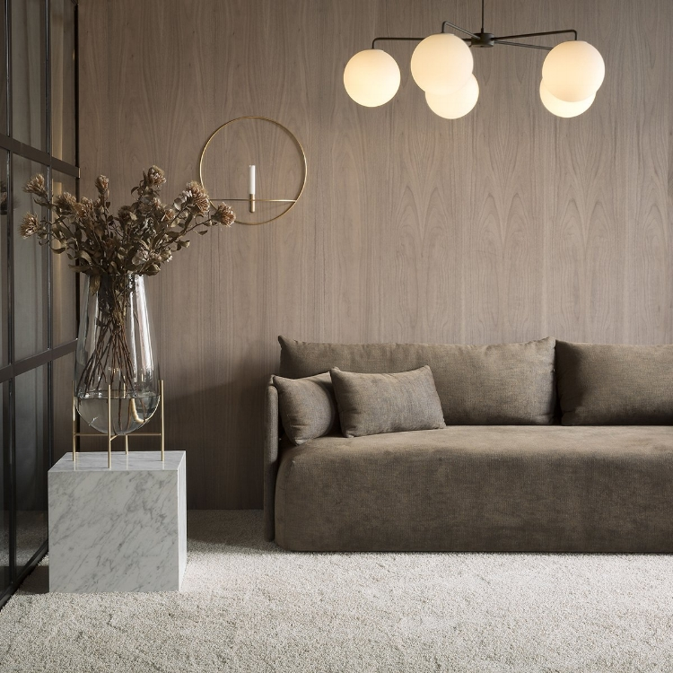 The Offset Sofa in gorgeous beige and brown tones  $5000  (price can vary depending on fabric selection)