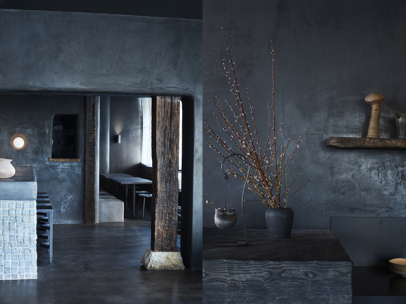 (left) Inside Sydney's Edition Roasters cafe, by  Amber Road . Photo –  Prue Ruscoe . (right) Edition Roasters references traditional Japanese ideas and materials. The interior by  Amber Road  feature a highly textured yet all-black palette. Japanese techniques have been employed such as 'shou sugi ban' a traditional way to preserve timber by charring it. Photo –  Prue Ruscoe .