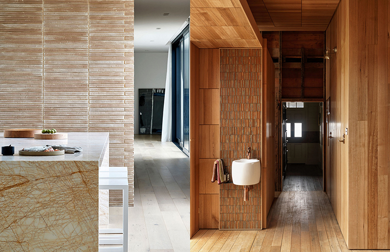 (left) The handmade brick seen in the Mayfield residence by  Studiofour  was chosen for its imperfection and variance in colour, tone, texture and size. Photo –  Shannon McGrath . (right) For their Captain Kelly's Cottage by  John Wardle Architects  sourced tiles from Japan, the very same that were originally commissioned by Frank Lloyd Wright for his Imperial Hotel in Tokyo. Photo –  Trevor Mein .