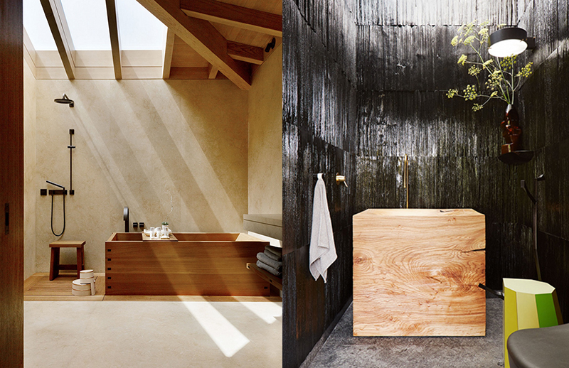 (left) The Nobu Ryokan in Malibu, designed by  Studio PCH , incorporates Japanese traditions in a Californian beach setting. The retreat features hand-crafted teak soaking baths, combined with indoor and outdoor spaces. Photo –  Dylan + Jeni . (right) This mid-century home in San Francisco features interiors designed by  Charles de Lisle , including a powder room with a hand-carved elm sink and black lacquered rosewood paneling on the walls. Photo –  William Abranowicz.