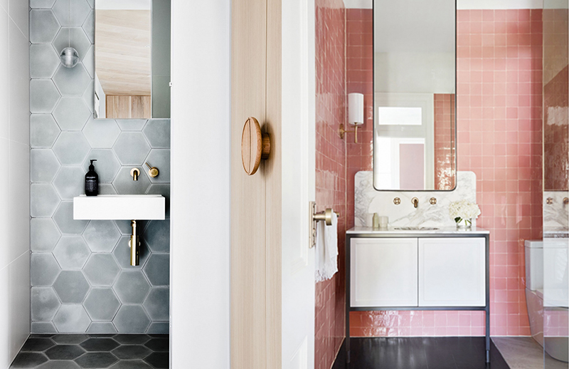 (left)  Studio Ezra  has used a gorgeous zellige mosaic tile, which is handpainted and handmade in Morocco from  Tiles of Ezra.  Photo –  Amelia Stanwix . (right)  Decus  have selected a delightful pink Moroccan tile which gives the space a wonderfully cheerful atmosphere. Photo – courtesy of  Decus Interiors .