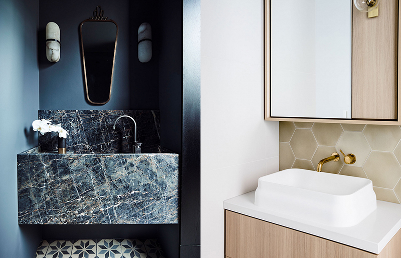 (left) A beautiful powder room painted blue that showcases the incredible stone vanity and the patterned floor by  Decus Interiors . Photo –  Anson Smart . (right)  Studio Ezra  designed a serene bathroom using a cement encaustic tile from  Tiles of Ezra  in a hexagon format over the floors and wall. Photo –  Amelia Stanwix .