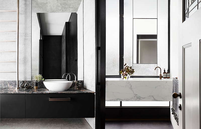 (left) Decus Interiors' Killcare House project. Photo – courtesy of  Decus Interiors . (right) A marble vanity floats over a window in a gorgeous design by Alwill. Photo – courtesy of  Alwill.