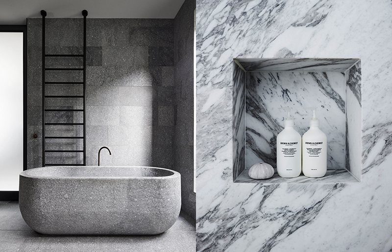 (left) An incredible bathroom featuring a stone bath by  B.E Architecture.  Photo –  Peter Clarke . (right) Detail of Decus Interiors' Killcare House project. Photo – courtesy of  Decus Interiors .