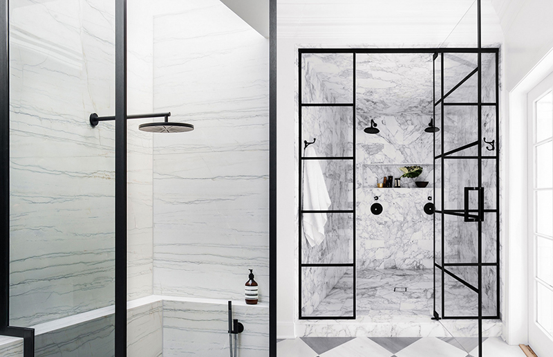 (left) Slabs of natural stone clad this shower paired with black tapware for a luxurious effect in this Melbourne penthouse by  SJB . Photo –  Nicole England . (right) This extraordinary double shower combines many elements that we are loving in bathrooms. Designed by  Studio LifeStyle , the incredible veined marble, which even clads the ceiling of the shower and the black steel doors, black tapware and check marble floor it really is a knockout. Photo –  Stephen Busken .