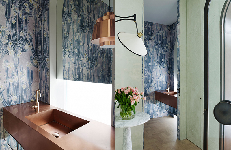 A stunning botanical wallpaper gives an unexpected burst of colour in an otherwise white house in Sydney by  Madeline Blanchfield Architecture . Photo – courtesy of  Madeline Blanchfield Architecture . (right) Photo – courtesy of  Madeline Blanchfield Architecture .