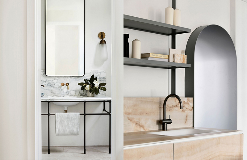 (left)  Decus Interiors  give this bathroom a light and airy feel with a steel frame reminiscent of chic European hotels. Photo – courtesy of  Decus Interiors . (right) Artedomus' Sydney Showroom, designed by  The Stella Collective  and  Thomas Coward . Photo –  Derek Swalwell .