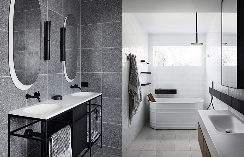 (left) In their Main Ridge project  Studio Griffiths  selected a stunning vanity unit with a black steel frame that the cabinetry sits within. Photo –  Sharyn Cairns . (right) A project by Carole Whiting Interiors and Design. Photo – courtesy of  Carole Whiting Interiors and Design