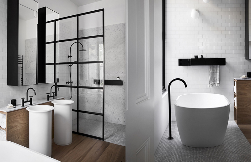 (left) This bathroom by  Carole Whiting Interiors  and  Whiting Architects  features various surfaces expertly combined so that it doesn't look too busy. A white ceramic subway tile behind the vanity is paired with marble slabs in the shower walls and marble mosaics on the shower floor. Timber floors are visually warm and also feel warm underfoot. The freestanding Agape vanity basins inject this memorable bathroom with loads of personality. (right) This bathroom by  Carole Whiting Interiors  and  Whiting Architects features various surfaces expertly combined so that it doesn't look too busy. A white ceramic subway tile behind the vanity is paired with marble, and marble mosaics on the floor. Timber floors are visually warm and also feel warm underfoot.