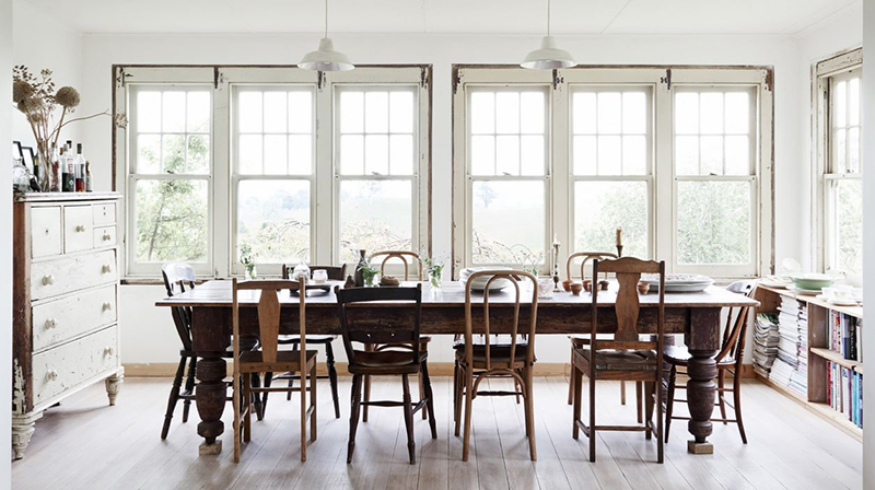 The home of Tamsin Carvan of  Tamsin's Table  features charmingly mis-matched antique dining chairs. Photo –  Eve Wilson .