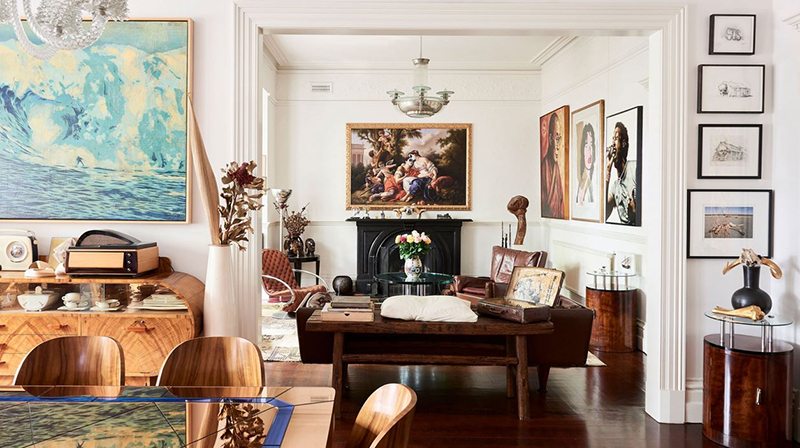 The brilliantly eclectic home of  Sandra Powell and Andrew King  combines antique furniture and a huge collection of contemporary artwork and street art. Photo –  Eve Wilson .