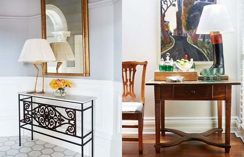 (left) Duck Feet Lamp by Porta Romana, with shade custom designed by  Brownlow Interior Design . An antique French wrought iron balcony grate has been cleverly repurposed as a console table by Miguel Meirelles Antiques, complete with an antique Louis Philippe style mirror above. (right) It takes a trained eye to take an antique piece and reimagine it into something far from how it was intended.  Brownlow Interior Design  took an old riders' boot and turned it into a fabulous lamp, a true one-of-a-kind conversation starter! It takes pride of place on a Hungarian antique console table which serves as a drinks table. Photo – Christine Francis