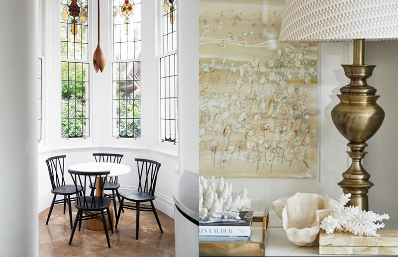 (left) This space by  Moss  uses a motif in the existing stained glass windowto guide the selection of the pendant light. The simple shape of the pendant light allows for the windows to be the focal point here. Photo –  Martina Gemmola . (right) Melissa of  Melissa Balzan Design  combines a traditional brass lamp effortlessly with contemporary art with a focus on texture, rather than bold colour. Photo by Hannah Caldwell, styled by Lucinda Bocain.