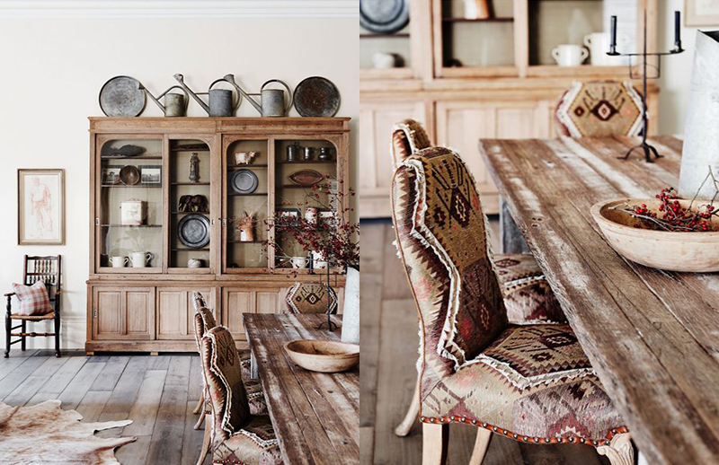 (left) A collection of antique pieces that all show a beautifully worn patina in this project by  Adelaide Bragg and Associates . Photo –  Lisa Cohen , Styled by Tess Newman-Morris. (right) The combination of textures in this project by  Adelaide Bragg and Associates  captures what a Victorian Country Homestead is all about. It's warm and tactile but not precious. Photo –  Lisa Cohen , Styled by Tess Newman-Morris.