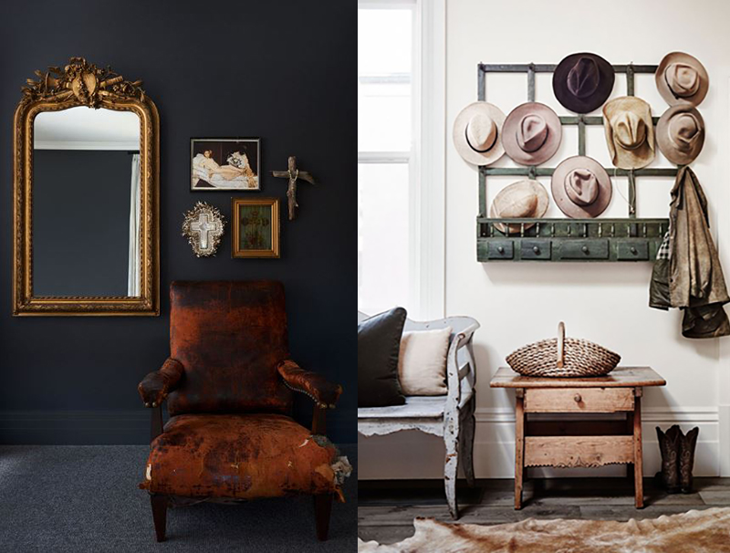 (left) This space by  Space, Grace & Style  is exciting, it combines something old and worn with a gleaming ornate mirror together on a dark backdrop. Photo – Cricket Saleh, Styling – Megan Morton. (right) A collection of antique pieces that all show a beautifully worn patina, in this project by  Adelaide Bragg and Associates . Photo –  Lisa Cohen , Styled by Tess Newman-Morris.