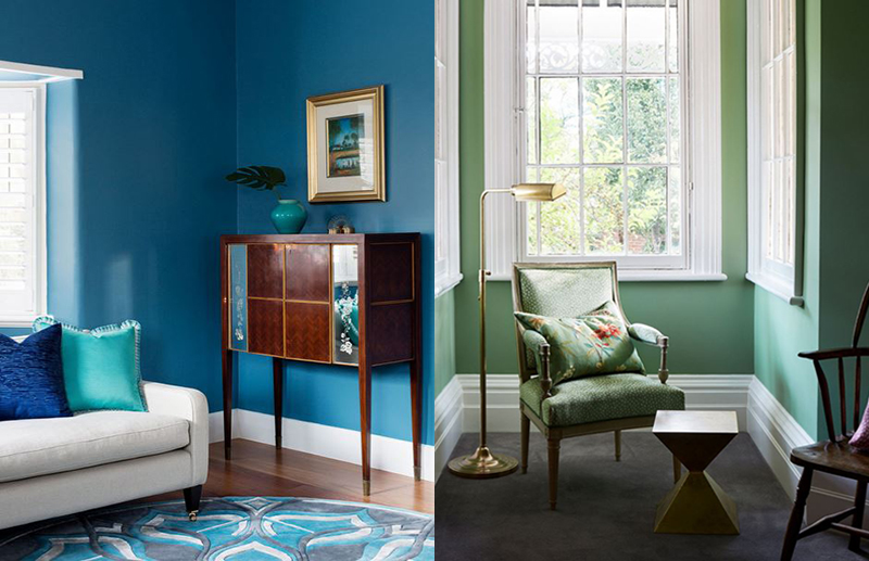 (left) When of  Camilla Molders Design  When Camilla sourced this antique cabinet at Moss Green Auction House she told the client to 'Buy it!' and thankfully, they did. The saturated blue wall colour is the perfect complement show off this piece. Photo –  Martina Gemmola . (right) Brownlow Interior Design have created a cohesive space whilst combining an antique chair and contemporary side table. These pieces work so well together as the single colour green ties them together. Photo – Christine Francis.
