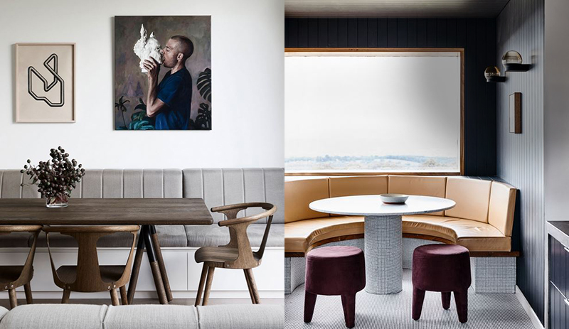 (left) Absolute comfort and elegance in this dining area by Robson Rak. Again, space is used efficiently with a combination of in-built seating and dining chairs. Paintings by  Sean Meilak  and  Heidi Yardley  in the kitchen/living area. Styling – Lucy Feagins/The Design Files. Photo –  Eve Wilson . (right) There is something totally inviting about booth seating.  Doherty Design  takes in-built seating to a new sophisticated new level in this  renovated farmhouse  in Beechworth, Victoria. Photo –  Derek Swalwell .