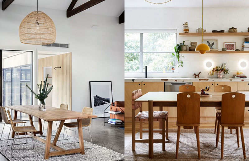 (left) In an open plan space with high ceilings the noise levels can get out of hand. A floor rug under the table has soften noise considerably. Also try fixing some acoustic paneling such as Echo Panel to the underside of the dining table.  Sisalla Barn House . Photo –  Tess Kelly . (right) Although the dining table is technically part of the kitchen, it doesn't feel like it. In  her home, Annie Portelli  has created a distinct dining room with the pendant light overhead, and a rug under the table which helps acoustically. Photo –  Caitlin Mills . Styling – Annie Portelli.